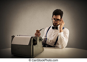 Retro writer - Man with glasses and pipe write with a...