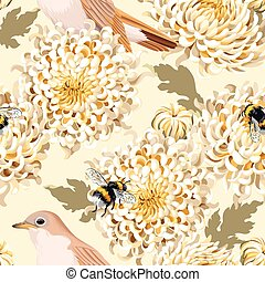 Seamless chrysanthemum and birds - Japanese chrysanthemum...