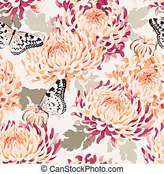 Seamless japanese chrysanthemum and butterfly - Japanese...