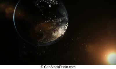 earth and asteroids in space. Asteroid field animation...