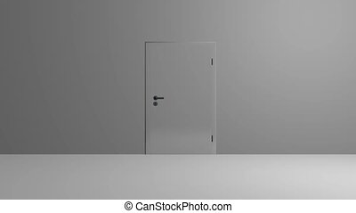 Realistic silver Door opening. CG animation