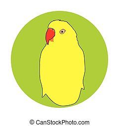 yellow parrot - Vector indian yellow parrot portrait in a...