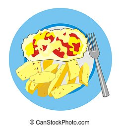 scrambled eggs - Illustration scrambled eggs with fresh...