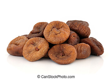 Figs - Dried fig fruit in a pile isolated over white...