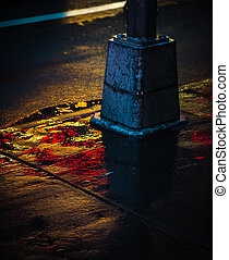 NYC streets after rain with reflections on wet asphalt -...