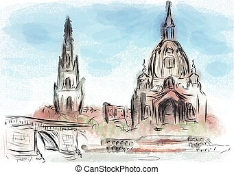 Dresden abstract illustration
