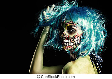 greasepaint - Fashionable zombie girl. Portrait of a pin-up...
