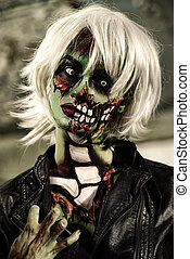 doomsday - Terrible bloodthirsty zombie woman in the slums....