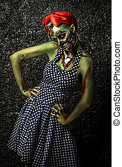 green skin - Frightening pin-up zombie girl over dark...