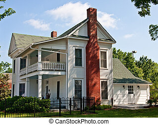 Old White Two Story Farmhouse with Red Brick Chimney - An...