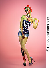 pretty pin-up zombie - Full length portrait of a pin-up...