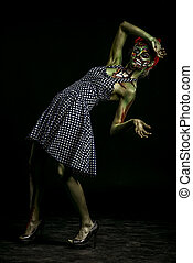 nightmare scene - Frightening pin-up zombie girl over dark...