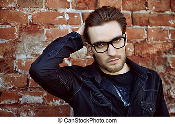 trendy man in spectacles - Handsome man in black jacket and...
