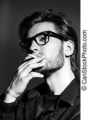 creative personality - Attractive young man thoughtfully and...