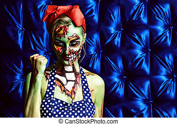scary and beautiful - Glamorous zombie girl. Portrait of a...