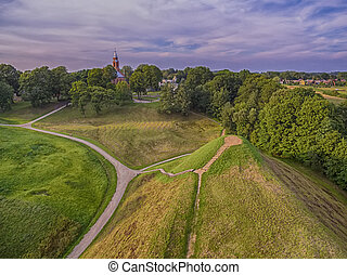 Kernave, historical capital city of Lithuania, aerial top view
