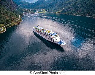 Geiranger fjord, Norway aerial photography - Geiranger...