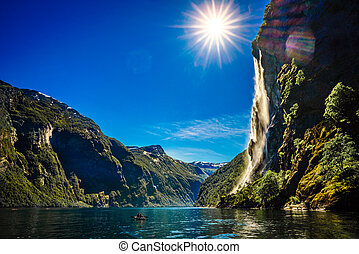 Waterfall Seven Sisters. - Geiranger fjord, waterfall Seven...