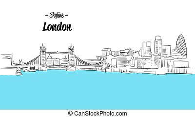 London Skyline Sketch, Hand drawn Vector Outline Artwork