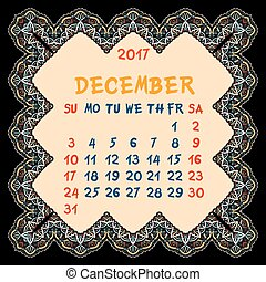 Calendar for 2017 Year. Desember, Vector Design Print...