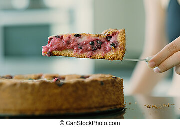 Wild berry homemade pie slice - Woman holding wild berry...
