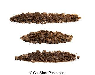 set pile soil isolated on white background