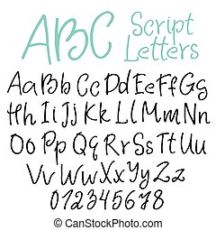 Hand-written script letters set, uppercase and lowercase...