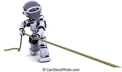 robot pulling on a rope - 3D Render of robot pulling on a...