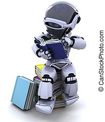 robot with books - 3D Render of robot with books