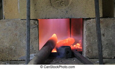 Burning fire in the kiln, in blacksmith shop
