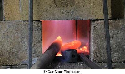 Burning fire in the kiln, in blacksmith shop