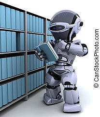 robot at bookshelf - 3D Render of robot at bookshelf