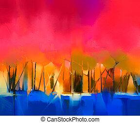 lona, óleo, coloridos, abstratos, quadro, paisagem