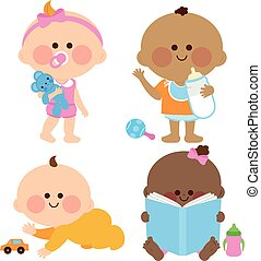 Cute baby girls and boys - Vector cute baby girls and boys...