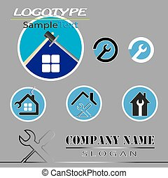 a set of logos construction company - vector set of various...
