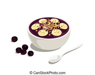 Acai mix - delicious and healthy acai bowl with granola and...