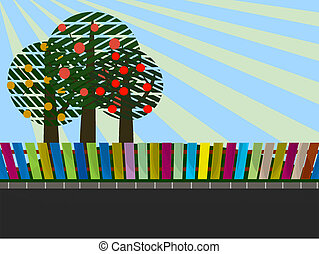 apple trees in garden - illustration of group apple trees in...
