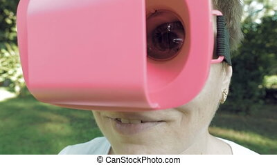 Huge terrific and fun eye through VR glasses lens - Female...