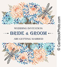 Wedding invitation with chrysanthemums - Vector wedding...