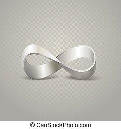 Infinity silver sign on transparent background
