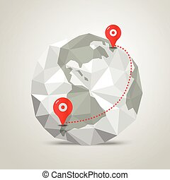 The Earth with abstract World map Infographic template with...
