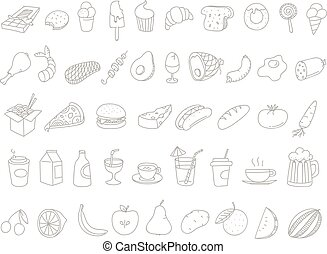 Different food doodles Lineart hand-drawn elements clip-art...