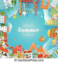 Travel concept vector illustration. Hello summer vacation
