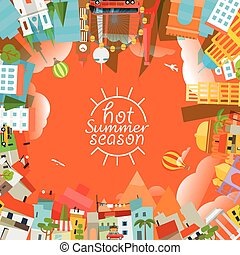 Travel concept vector illustration Hot summer season