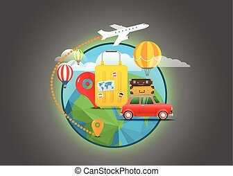 Vacation travelling concept. Vector travel illustration. Travel around the world