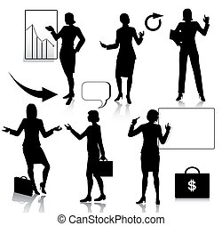 Business woman silhouettes set - Vector silhouette set of...