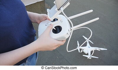 drone copter starts its engine