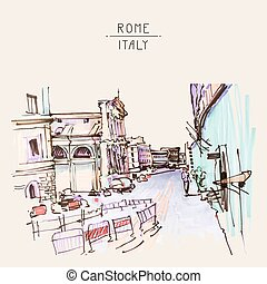 marker drawing of Rome Italy street landscape, urban sketch