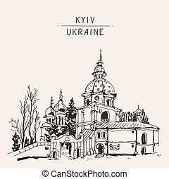 sketch drawing of Vydubychi monastery in Kyiv Ukraine,...