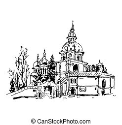 black and white sketch drawing of Vydubychi monastery in...